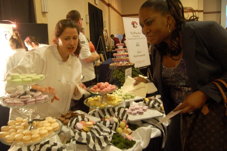 Sheree McDowell, pastry chef at Ayshire Farm in Upperville describes her different macaron desserts at the 2012 event.